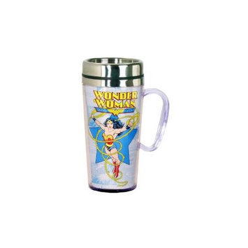 Spoontiques Wonder Woman Comic White Insulated Travel Mug with Handle