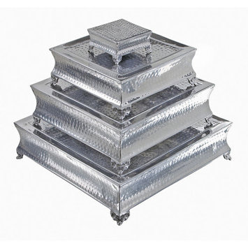 Benzara 16165 Wedding and Party Aluminum Cake Stand Set4 22 in.#44;18 in.#44;14 in.#44;6 in. W