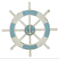 Benzara Inc Antique Themed Wooden Ship Wheel Wall Decor