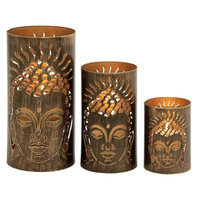 Benzara 22238 Classy Set of Three Metal Candle Holder