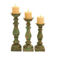 Benzara 52758 Wooden Candle Holder in Calming Green Finish - Set of 3