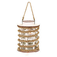 Benzara 53167 Wooden Chic Glass Delicate Lantern with Rope Extension