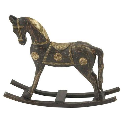 Benzara 81416 Beautiful Wood Brass Rocking Horse 30 x 25 in.