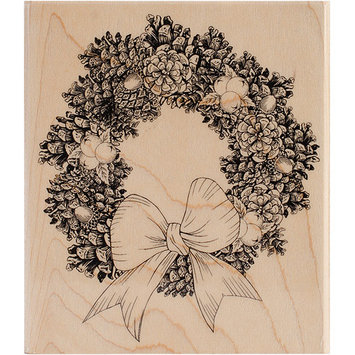 Penny Black Mounted Rubber Stamp 4X4.5-Pine Wreath