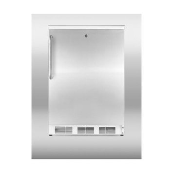 Summit Appliances CT66LSSTB Freestanding refrigerator-freezer with cycle defrost, white cabinet, stainless steel door, towel bar handle, and lock