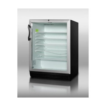 Summit Appliances SCR600BLADA ADA compliant, commercially approved glass door beverage center with black cabinet and front lock
