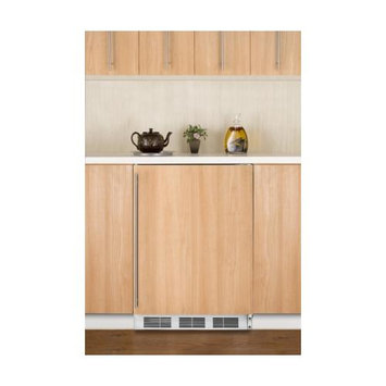Summit Appliances FF7BBIIF Commercial built-in auto defrost all-refrigerator with black cabinet and integrated door frame to accept custom overlay panels