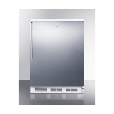 SUMMIT Built-in undercounter refrigerator with lock, stainless steel door, and thin handle