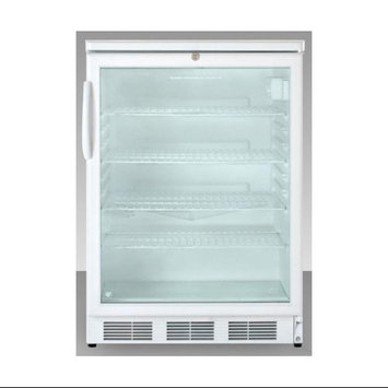 Summit Appliances SCR600LADA ADA compliant, commercially approved glass door beverage center with white cabinet and front lock