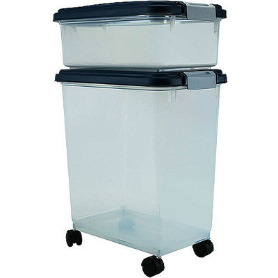 Iris Usa Inc IRIS Airtight Pet Food Storage Container Combo - Navy - 33 quart