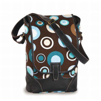 Cc Home Furnishings Contemporary Wine & Beverage Insulated 2 Bottle Carrier - Brown Polka Dot