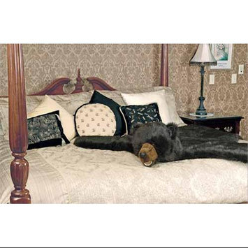 The Hen House 58x56 Realistic Plush Black Bear Stuffed Animal Rug with Micro Suede Bottom Black