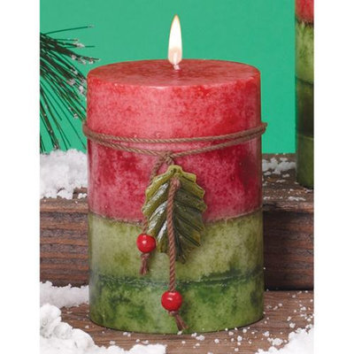 Cc Home Furnishings Pack of 6 Holiday Naturals Frosted Mulberry Scented Pillar Christmas Candles 4