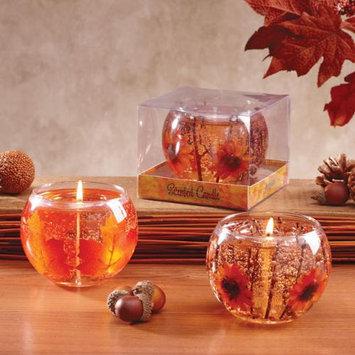 Cc Home Furnishings 4 Fall Leaf and Orange Gerber Daisy Glass Gel Candles 4