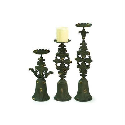 Cc Home Furnishings Set of 3 Renaissance Brown Fleur De Lis Pillar Candle Holders 12