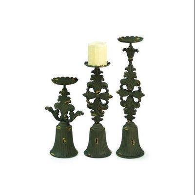 Cc Home Furnishings Set of 3 Renaissance Brown Fleur De Lis Pillar Candle Holders 12