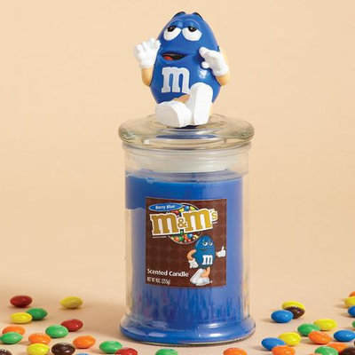 Cc Home Furnishings 4 Berry Blue Scented Glass Jar Pillar Candles with Blue Peanut M & M Lids 9 oz.