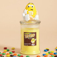 Cc Home Furnishings 4 Nutty Lemon Scented Glass Jar Pillar Candles with Yellow Peanut M & M Lids 9 oz.