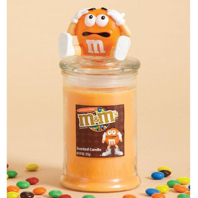 Cc Home Furnishings 4 Twisted Citrus Scented Glass Jar Pillar Candles With Orange M & M Lids 9 oz.