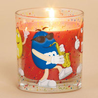 Cc Home Furnishings 4 Apple Cinnamon Scented Glass Votive Candles with M & M Party Design 6 oz.