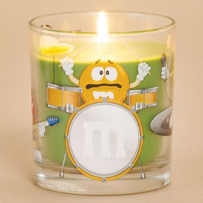 Cc Home Furnishings Pack of 4 Tarty Pear Scented Glass Votive Candles with M & M Band Design 6 oz.