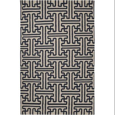 Cc Home Furnishings 5' x 8' Block Pillars Mossy Gold and Dark Slate Blue Wool Area Throw Rug