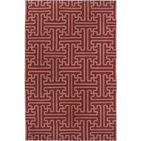 Cc Home Furnishings 5' x 8' Block Pillars Brown and Maroon Red Wool Area Throw Rug