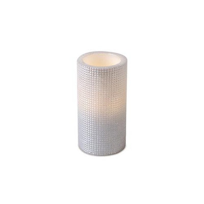 Cc Christmas Pack of 6 Ivory Grid Pattern Flameless Wax LED Pillar Candles w/Timers 3