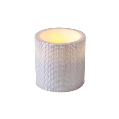 Cc Christmas Pack of 2 Ivory Grid Pattern Flameless Wax LED Pillar Candles w/Timers 6
