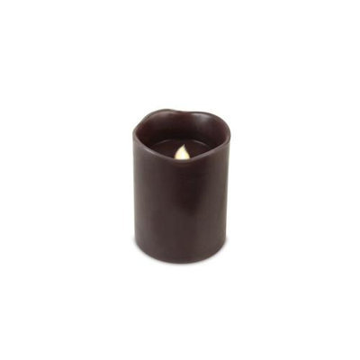 Cc Christmas Pack of 6 Chocolate Brown Flameless Wax LED Pillar Candles w/Timers 3