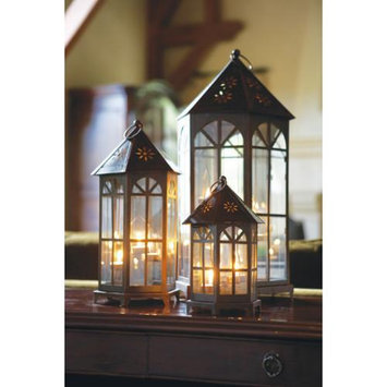 Cc Home Furnishings Set of 3 Black Decorative Glass Tea Light Candle Lanterns 24