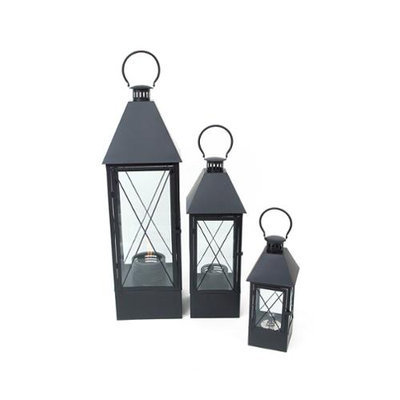 Cc Home Furnishings Set of 3 Country Vineyard Black Contemporary Glass Oil Hanging Lantern 44