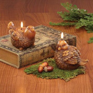Cc Home Furnishings Pack of 6 In the Birches Woodland Brown Sculpted Bird Candles - Unscented