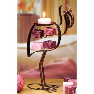 Cc Home Furnishings Pack of 4 Bronze Metal Flamingo Table Top Candle on Rope Holder Figures 13.4