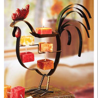 Cc Home Furnishings Pack of 4 Bronze Metal Rooster Table Top Candle on Rope Holder Figures 10.5