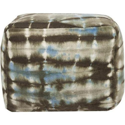 Diva At Home 16 Sky Blue and Dark Gray Tie-dyed Wool Square Pouf Ottoman