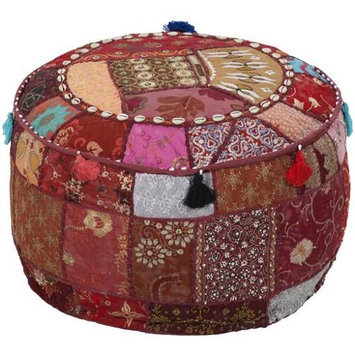 Diva At Home 12 Maroon, Burgundy and Fuchsia Recycled Patch Work Cotton Round Pouf Ottoman
