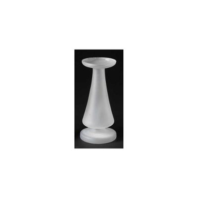 Roman 9 Contemporary Sleek White Frosted Glass Pillar Candle Holder