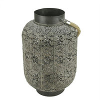 Allstate 15 Distressed Gray Lace Cut-Out Design Pillar Candle Lantern with Glass Holder