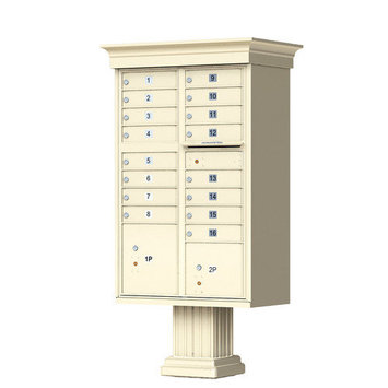 Florence Mailboxes Vogue Type III 16 Unit Cluster Box Unit with Classic Accessories