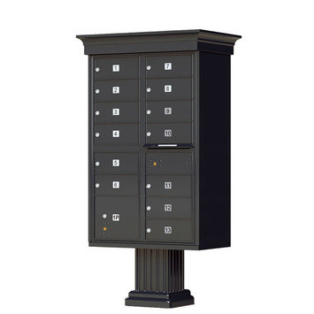 Florence Mailboxes Vogue Type IV 13 Unit Cluster Box Unit with Traditional CBU Accessories