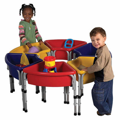 Early Childhood Resource ELR-0796 6 Station Ellipse Sand and Water Center with Lids