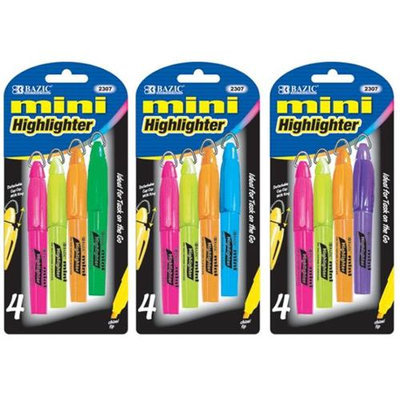 Bazic Mini Fluorescent Highlighters with Cap Clip(Case of 24)