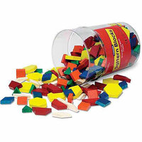 LEARNING RESOURCES LER0334 PATTERN BLOCKS WOODEN-250/PK 1cm IN BUCKET