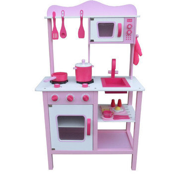 Merske Llc Berry Toys My Cute Pink Wooden Play Kitchen