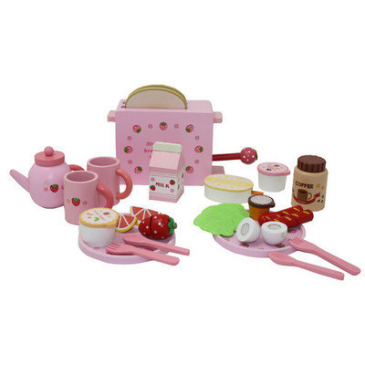 Merske Llc Berry Toys Complete Healthy Breakfast Wooden Play Food Set