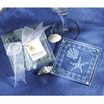 Kate Aspen Shell and Starfish Glass Coasters (Set of 12)