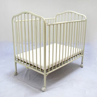 LA Baby Compact Metal Folding Crib - Vanilla