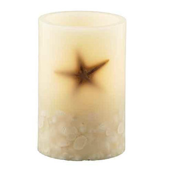 Pacific Accents Oceanside Flameless Seashell Pillar Candle