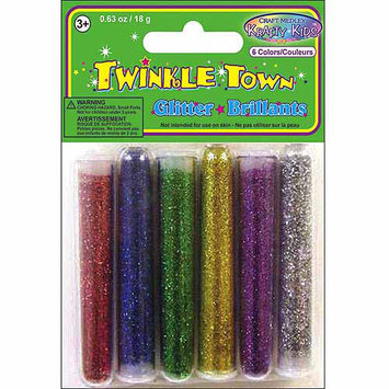 American Classics Corp 491939 Glitter Tube Assortment 3 Grams 6-Pkg-Silver-Gold-Purple-Red-Blue-Green